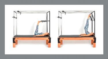 Paciente realizando aula de Pilates para coluna em aparelhos. Tratamento de problemas de coluna com Pilates.