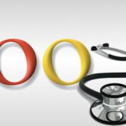 Símbolo do google com estetoscópio médico